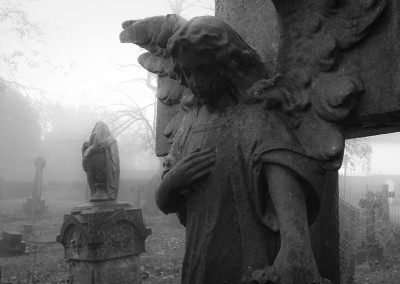 Angel statue close up in the graveyard at Horfield Church