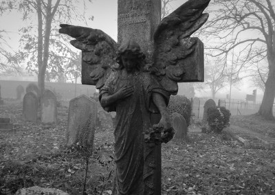 Angel statue in the graveyard at Horfield Church