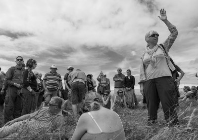 Archeological walk during the Priddy Folk Festival on top of the Mendips