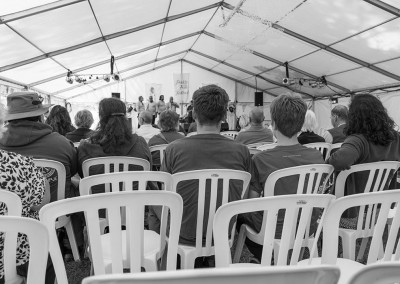 Back of the Eastwater marquee at Priddy Folk Festival