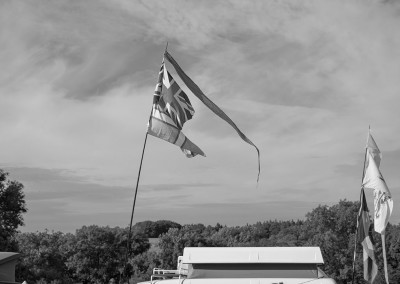Camping field flags at Priddy Folk Festival