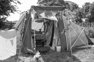 Decorated tent in the camping field at Priddy Folk Festival