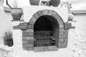 A fireplace in a show garden at the Malvern show