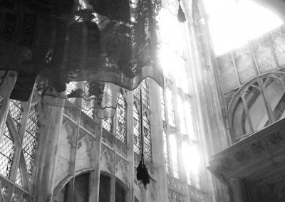 Flags and sunlight at Gloucester Cathedral