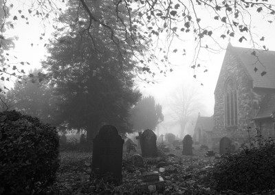 View of Horfield Church and graveyard from the lane