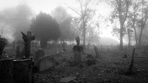 Another foggy view of the front graveyard at Horfield Church