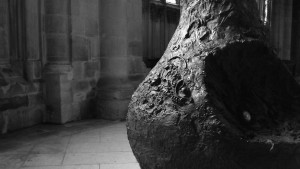 Pear sculpture close up at Gloucester Cathedral