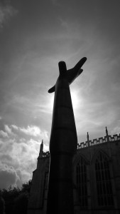 Giant hand sculpture at Gloucester Cathedral