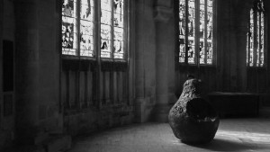 Pear sculpture at Gloucester Cathedral
