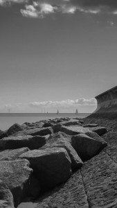 Sea wall in Essex