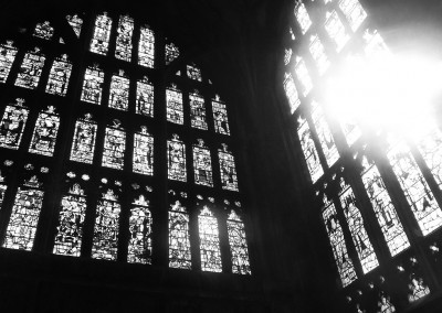 Stained glass and sunlight at Gloucester Cathedral