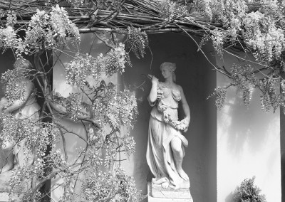 A statue in a show garden at the Malvern Show