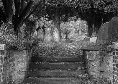 Steps leading up to the graveyard at St Marys Church Henbury