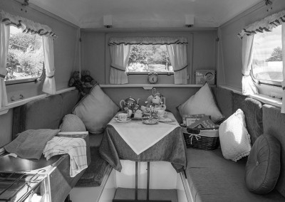 An interior view of vintage caravan at the Malvern show