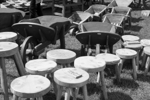 Wooden stools in the Crafts area at the Malvern show