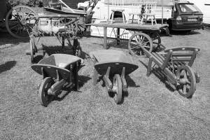 Wooden wheelbarrows in the Crafts area at the Malvern show