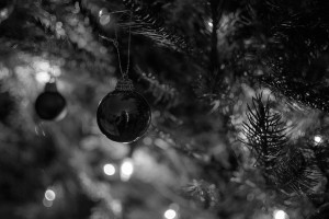 Christmas tree with baubles and lights