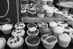 Halloween cupcakes on display outside cake shop on Gloucester Road