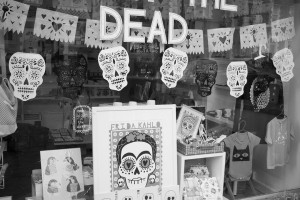 Day of the Dead Halloween window display on Gloucester Road