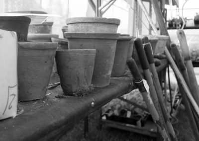 clay pots on a shelf with tools at the Malvern Show 2016