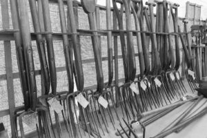 A selection of vintage garden forks and old tools at the Malvern Show 2016