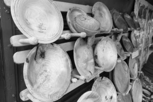 Wooden carved plates on a stall at the Malvern Show 2016