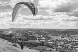 A hang glider attemptes to take off | Malvern Hills