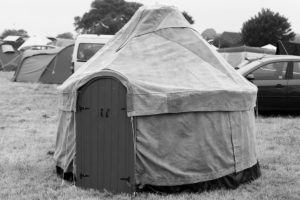 A yurt on the campsite at Priddy Folk Festival