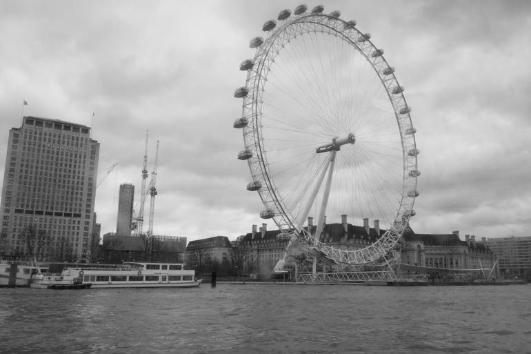 The London Eye view from a river boat 2017