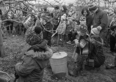 The Wassail circle gathering to bless the apple tree 2017