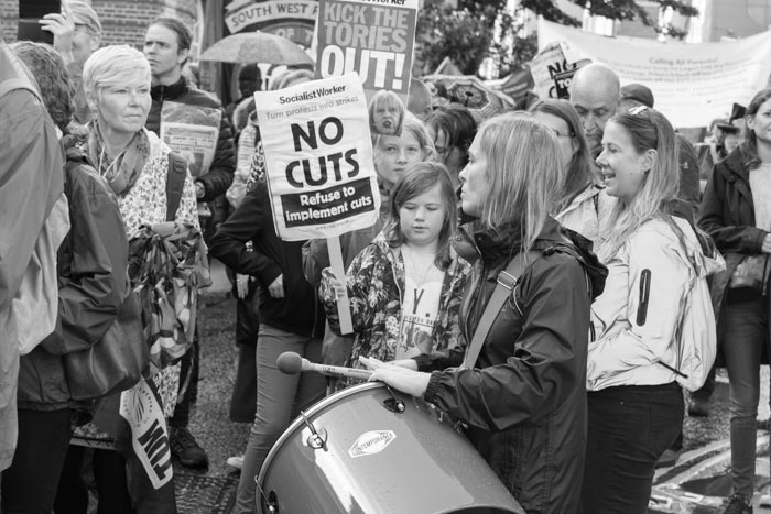 Drummer in the crowd on Bristol's anti-austerity march