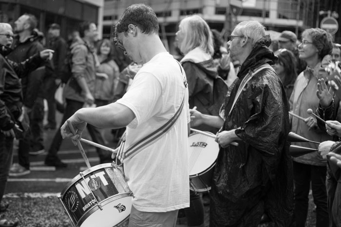 Drummers on Bristol's anti-austerity march