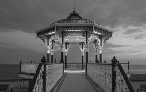 A bandstand on Brighton seafront in the early evening