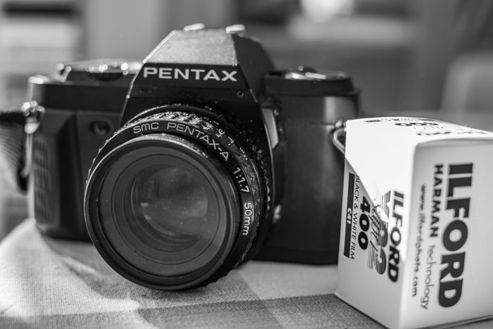 A Pentax P30n camera with Ilford film