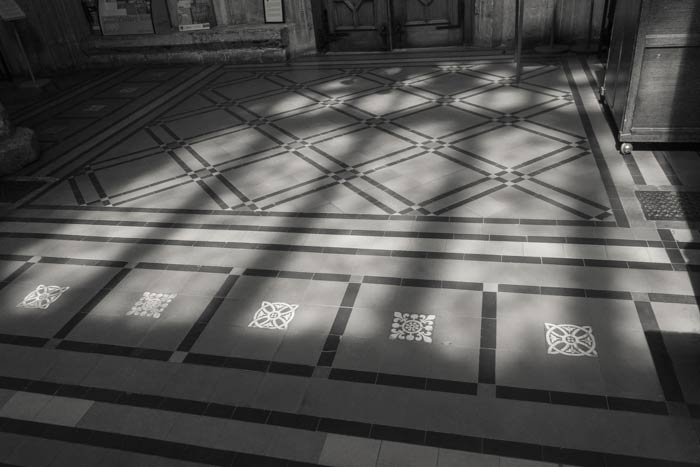 St Mary Redcliffe Church - shadows on the floor tiles by the north door