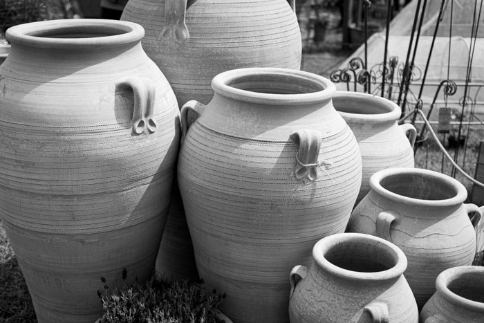 Terracotta plant pots at the Malvern Spring show